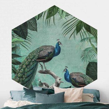 Hexagon Mustertapete selbstklebend - Shabby Chic Collage - Edler Pfau