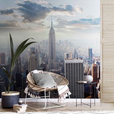 Metallic Tapete  - Sonnenaufgang in New York