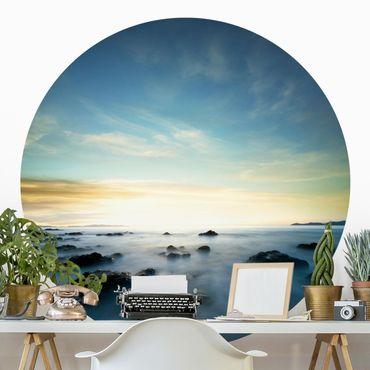 Runde Tapete selbstklebend - Sonnenuntergang über dem Ozean