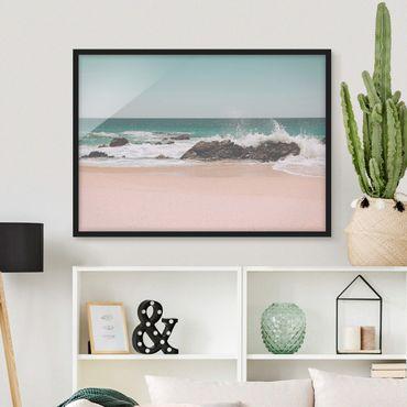 Bild mit Rahmen - Sonniger Strand Mexico - Querformat