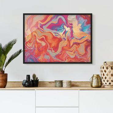 Bild mit Rahmen - Spiel der Farben Goldenes Feuer - Querformat
