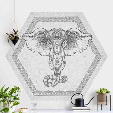 Hexagon Mustertapete selbstklebend - Spiritueller Elefant in Betonoptik
