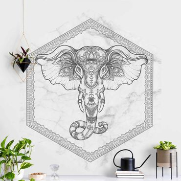 Hexagon Mustertapete selbstklebend - Spiritueller Elefant in Marmoroptik