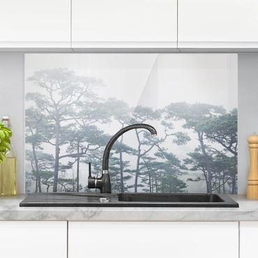 Spritzschutz Glas - Baumkronen im Nebel - Querformat 2:3