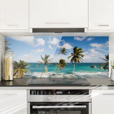 Spritzschutz Glas - Beach of Barbados - Panorama Quer