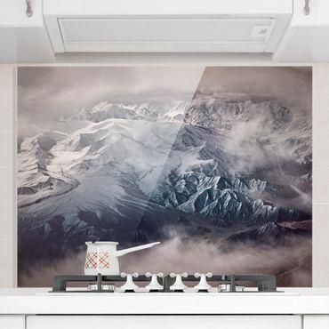 Spritzschutz Glas - Berge von Tibet - Querformat 3:4
