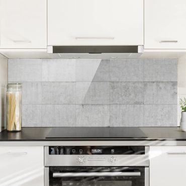 Spritzschutz Glas - Beton Ziegeloptik grau - Panorama Quer