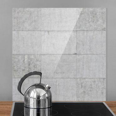 Spritzschutz Glas - Beton Ziegeloptik grau - Quadrat 1:1