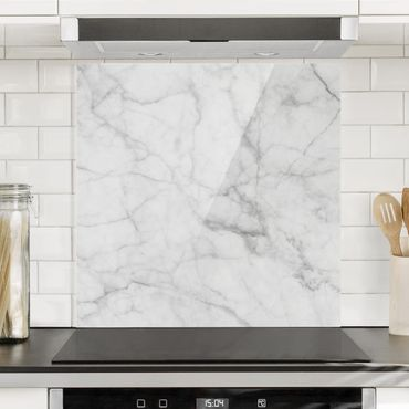 Spritzschutz Glas - Bianco Carrara - Quadrat 1:1