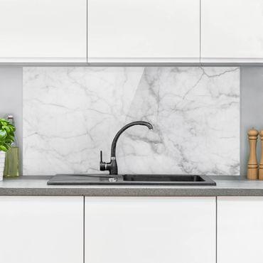 Spritzschutz Glas - Bianco Carrara - Weißer Marmor Küchenrückwand Marmoroptik - Quer 2:1