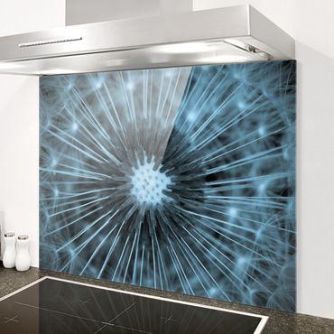 Spritzschutz Glas - Blau getönte Pusteblume - Querformat 3:4