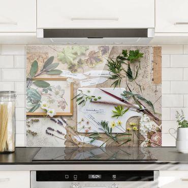 Spritzschutz Glas - Blumen und Gartenkräuter Vintage - Quadrat 1:1
