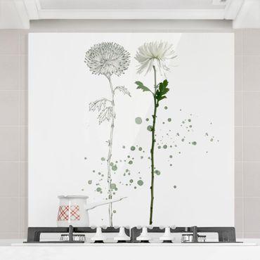 Spritzschutz Glas - Botanisches Aquarell - Löwenzahn - Quadrat 1:1