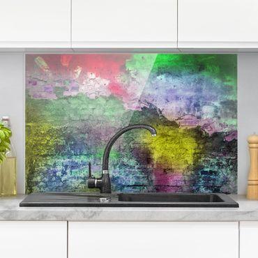 Spritzschutz Glas - Bunte besprühte alte Wand aus Backstein - Quer 3:2