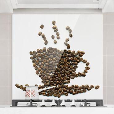 Spritzschutz Glas - Coffee Beans Cup - Quadrat 1:1