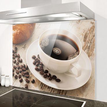 Spritzschutz Glas - Dampfende Kaffeetasse mit Kaffeebohnen - Quer 3:2