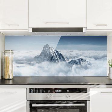 Spritzschutz Glas - Die Alpen über den Wolken - Panorama Quer