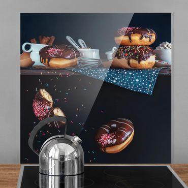 Spritzschutz Glas - Donuts vom Küchenregal - Quadrat 1:1