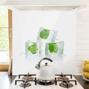 Spritzschutz Glas - Drei Eiswürfel mit Melisse - Quadrat 1:1