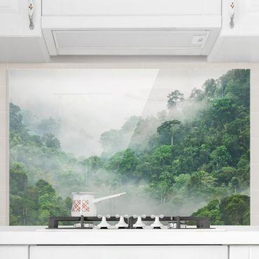 Spritzschutz Glas - Dschungel im Nebel - Querformat 2:3