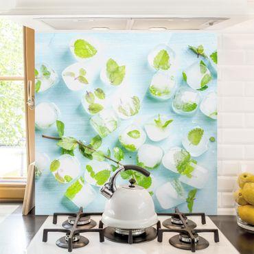 Spritzschutz Glas - Eiswürfel mit Minzblättern - Quadrat 1:1
