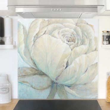Spritzschutz Glas - Englische Rose Pastell - Quadrat 1:1