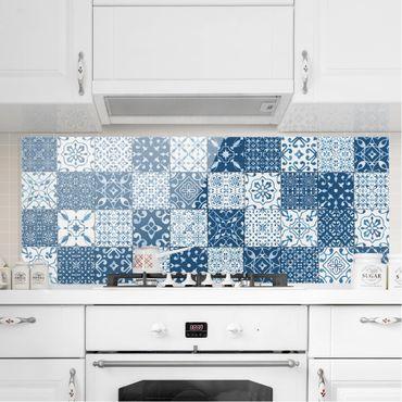 Spritzschutz Glas - Fliesen Mustermix Blau Weiß - Panorama