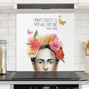 Spritzschutz Glas - Fridas Gedanken - Blumen - Quadrat 1:1