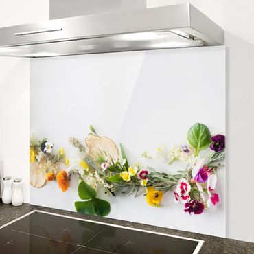 Spritzschutz Glas - Frische Kräuter mit Essblüten - Quer 3:2