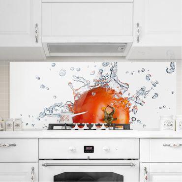 Spritzschutz Glas - Frische Tomate - Panorama Quer