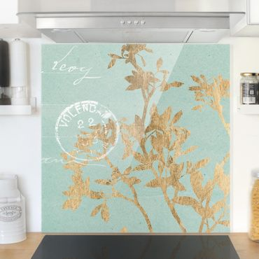 Spritzschutz Glas - Goldene Blätter auf Turquoise II - Quadrat 1:1