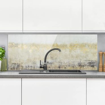 Spritzschutz Glas - Goldene Farbfelder I - Panorama