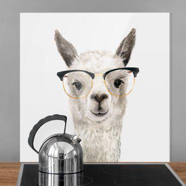 Spritzschutz Glas - Hippes Lama mit Brille I - Quadrat 1:1