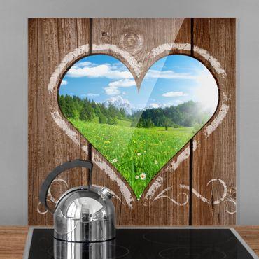 Spritzschutz Glas - Idyllisches Örtchen - Quadrat 1:1