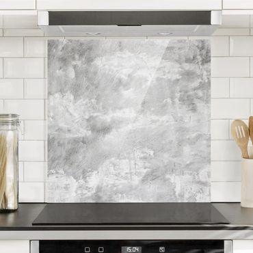 Spritzschutz Glas - Industrie-Look Betonoptik - Quadrat 1:1