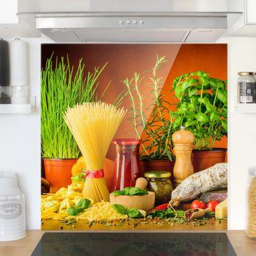 Spritzschutz Glas - Italienische Küche - Quadrat 1:1