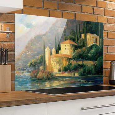 Spritzschutz Glas - Italienische Landschaft - Landhaus - Querformat 2:3