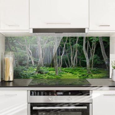 Spritzschutz Glas - Japanischer Wald - Panorama Quer