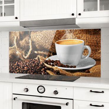 Spritzschutz Glas - Kaffee am Morgen - Panorama Quer