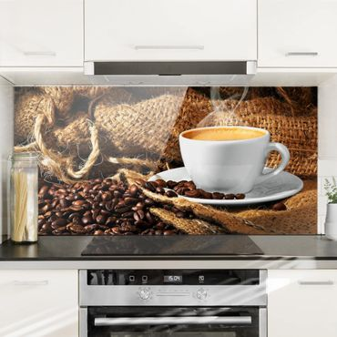 Spritzschutz Glas - Kaffee am Morgen - Quer 2:1