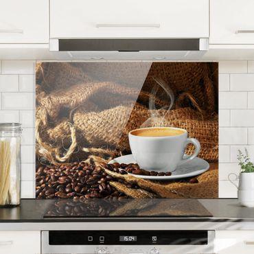 Spritzschutz Glas - Kaffee am Morgen - Quer 4:3