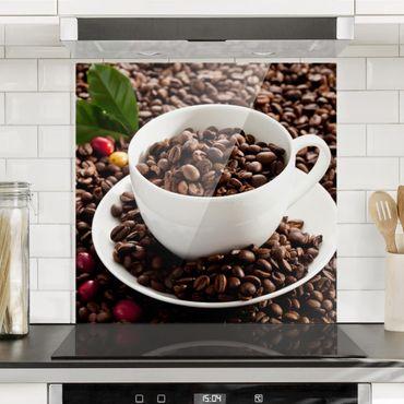 Spritzschutz Glas - Kaffeetasse mit gerösteten Kaffeebohnen - Querformat 2:1