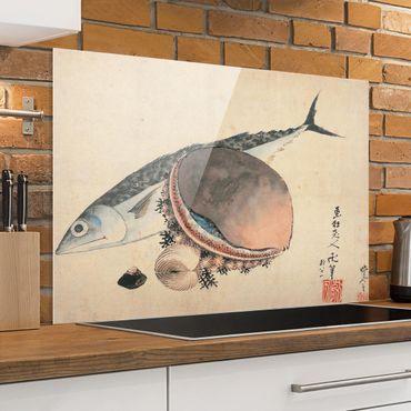 Spritzschutz Glas - Katsushika Hokusai - Makrele und Seemuscheln - Quer 3:2