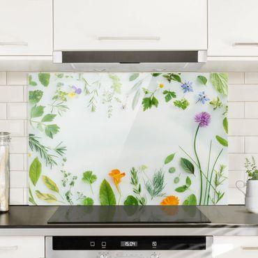 Spritzschutz Glas - Kräuter und Blüten - Quer 3:2