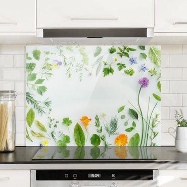 Spritzschutz Glas - Kräuter und Blüten - Quer 4:3