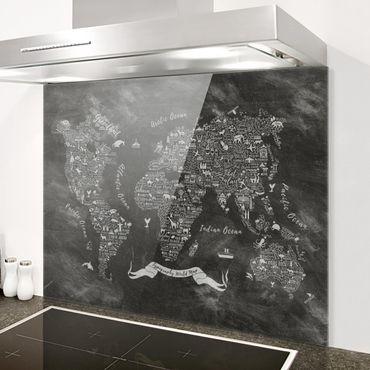Spritzschutz Glas - Kreide Typografie Weltkarte - Quer 3:2