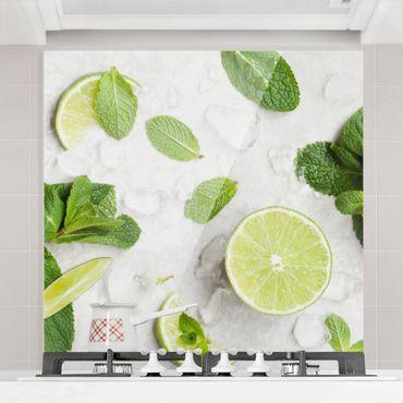 Spritzschutz Glas - Limetten Minze auf Eiswürfel - Quadrat 1:1