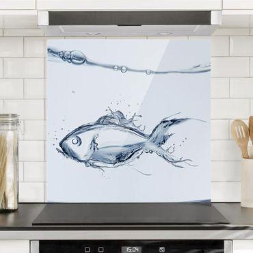 Spritzschutz Glas - Liquid Silver Fish - Quadrat 1:1