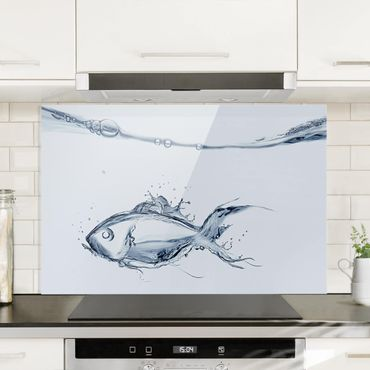 Spritzschutz Glas - Liquid Silver Fish - Quer 3:2