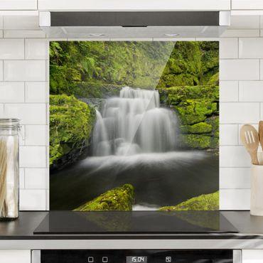 Spritzschutz Glas - Lower McLean Falls in Neuseeland - Quadrat 1:1